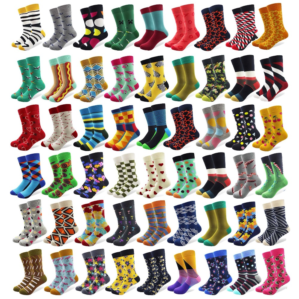 20 Pairs/lot Creative Mens Colorful Striped Cartoon Combed Cotton Happy Socks Crew Wedding Gift Casual Crazy Funny Socks Crazy ...