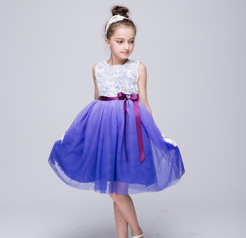 Baby Girl Gradient Color Princess Dresses Child Bridesmaid Wedding ...