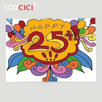 Custom Soft Fleece Throw Blanket 25th Birthday Decorations Cartoon Style Composition with Floral Details Swirls and Balloons