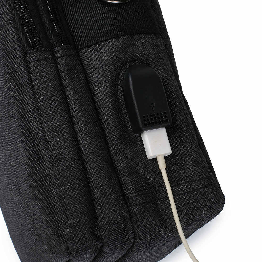Soperwillton 男性の袋の Usb ポートショルダークロスボディバッグ水抵抗力がオックスフォード旅行バッグジッパーベルトバッグ男性 #1042