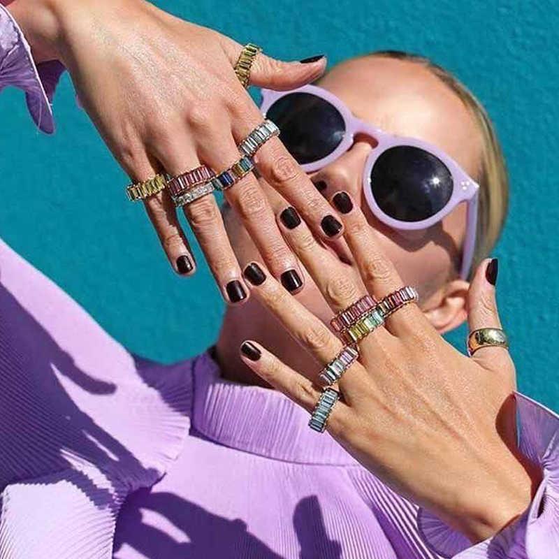 Flatfoosie Pha Lê Thời Trang Nhiều Màu Sắc Cho Nữ, Nhẫn Nữ Sáng Bóng Cưới cô dâu Ban Nhạc Tham Gia Đảng ngón tay Nhẫn 2019 Phụ Kiện