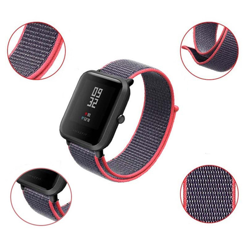 Watchband 20mm22mm nylon strap for Amazfit Wrist strap colorful nylon loop weaving watch for Amazfit Bip Pace Watchband Brecelet