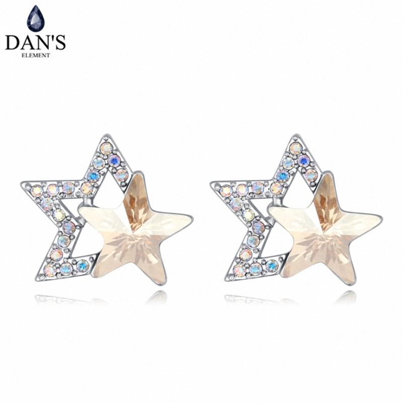 DANS 4 Colors Real Austrian crystals Stud earrings for women Earrings s New Sale Hot Round 127972