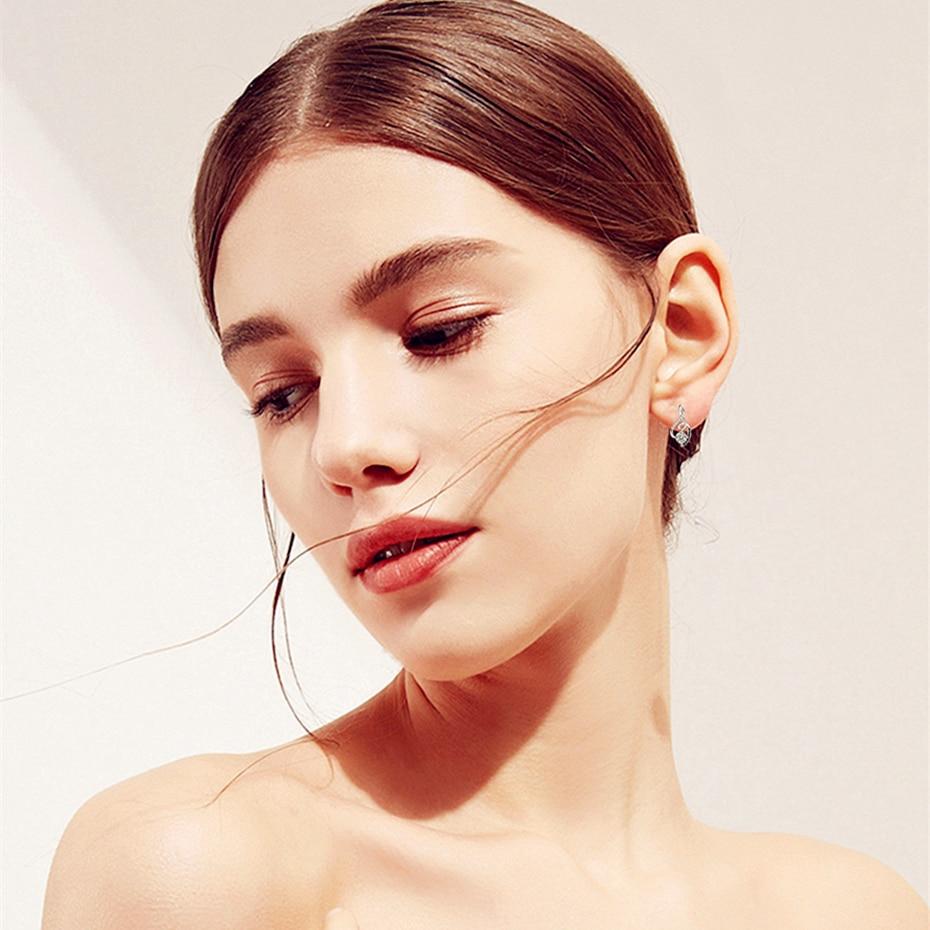 [black Awn] Genuine 925 Sterling Silver Female Earring Fine Jewelry Vintage Water-drop Wedding Stud Earrings For Women T006 #2