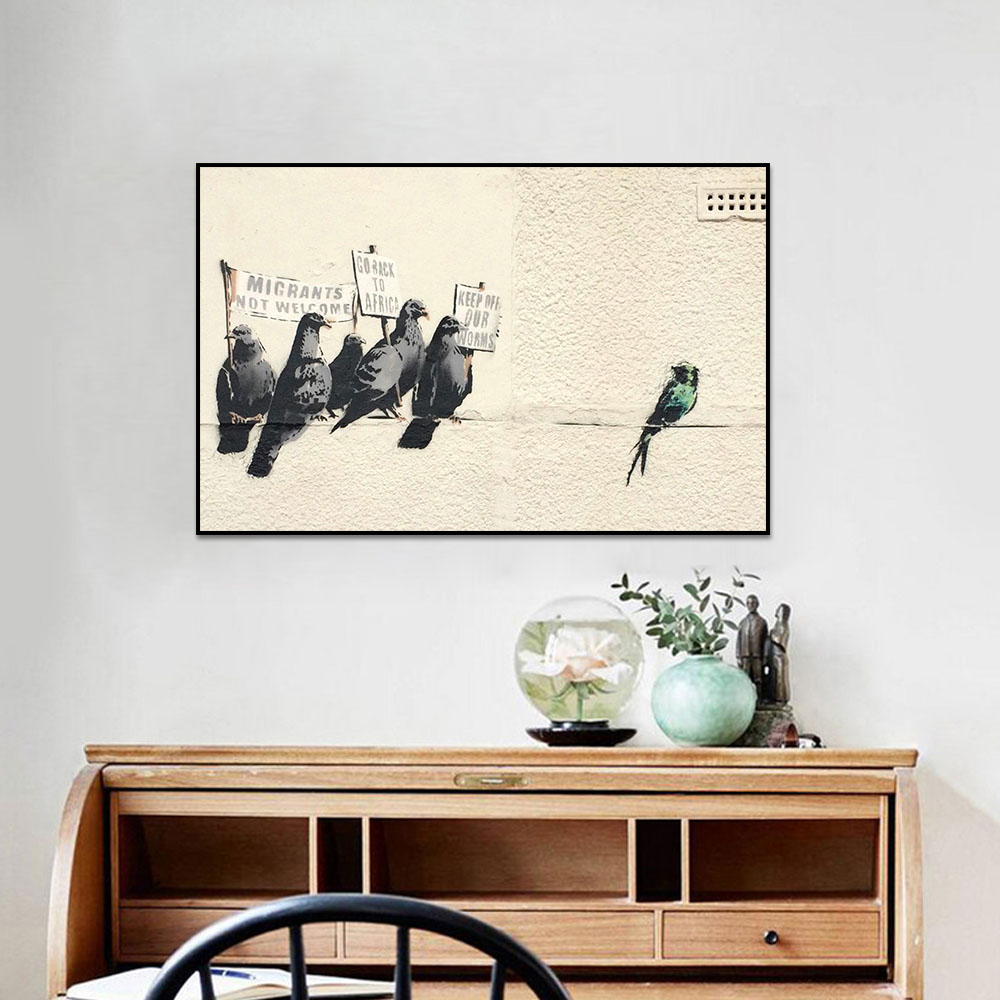 Unframed Canvas Prints Banksy Graffiti Satire Pigeon Prints Wall Pictures For Living Room Wall Art Decoration Dropshipping