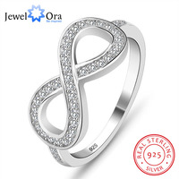 JewelOra Rhinestone 8 Shaped Knot Flowers Rings For Women Brand 925 Sterling Silver S925 Stamped Lady