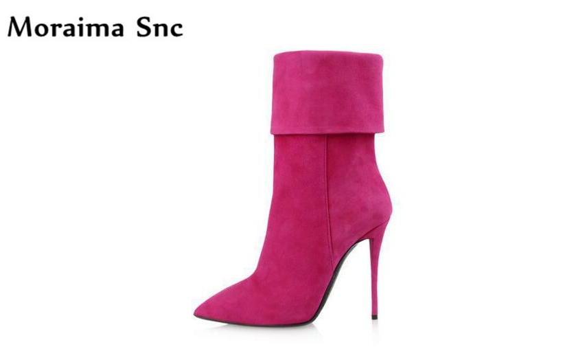 Moraima Snc 2018 newest women Ankle boots high heels concise type pointed toe slip-on riding boots Turned-over Edge red boots moraima snc red boots transparent high heels boots women square toe mid calf rainboots sexy ankle boots for women bottine femme
