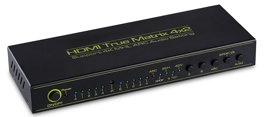 HDMI V1.4a HDMI матричный 4X2 (4 2) переключатель Switcher Splitter усилитель с дистанционным Поддержка дуги наушников TOSLINK 4 К X 2 К