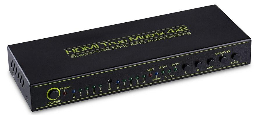HDMI V1.4a HDMI Matrice 4X2 (4 à 2) commutateur Switcher Splitter Amplificateur avec Télécommande Soutien ARC Casque TOSLINK 4 K X 2 K