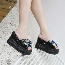 Woman Crystal Butterfly Knot Slipper Wedges Mules Platform Heels Shoes  Slides Summer Glitter Bling Sandals Black ca3d24c1e393