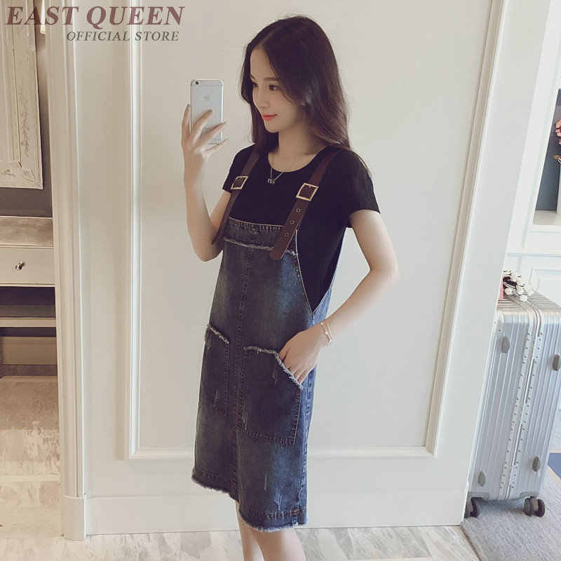 ... Pinafore dress women denim sundress jean dresses women 2018 new  arrivals streetwear sleeveless woman winter dress ... 63a53e073a55