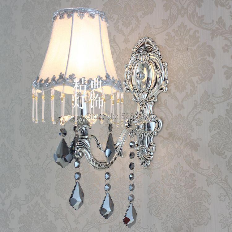 SINGLE HEAD Silver Crystal wall lamp,Gold modern Aisile