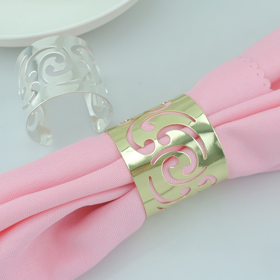 20pcs Hollow Flower Silver/Gold Plated Napkin Ring Serviette Buckle ...