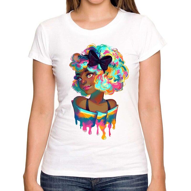 2017 Popular fashion ladies T-shirts summer latest printed Rainbow Design very interesting womans T-shirts Hot Tops