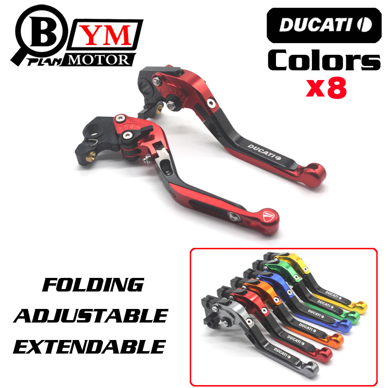 8 Colors Motorcycle Folding Extendable Brake Clutch Levers For Ducati Monster 400 620 696 796 S2R 800 620 MTS ST4S mtkracing motorcycle cnc adjustable folding extendable brake clutch levers for ducati monster 696 695 796 400 620 s2r st4s