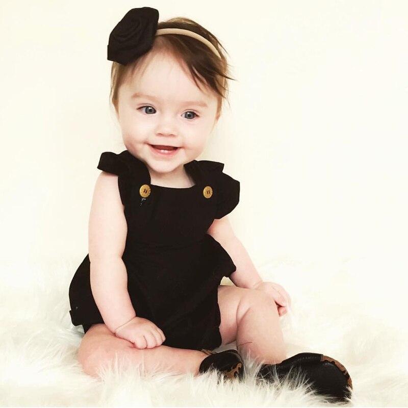 2017 Симпатичные новорожденных для маленьких девочек ползунки летняя одежда с рукавами-воланами одноцветное Bebes Детские Нарядная одежда для ...
