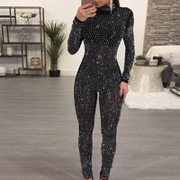 Long sleeve sexy mesh Diamonds perspective women long pencil pant bandage jumpsuit black Skinny bodycon club party tunic overall