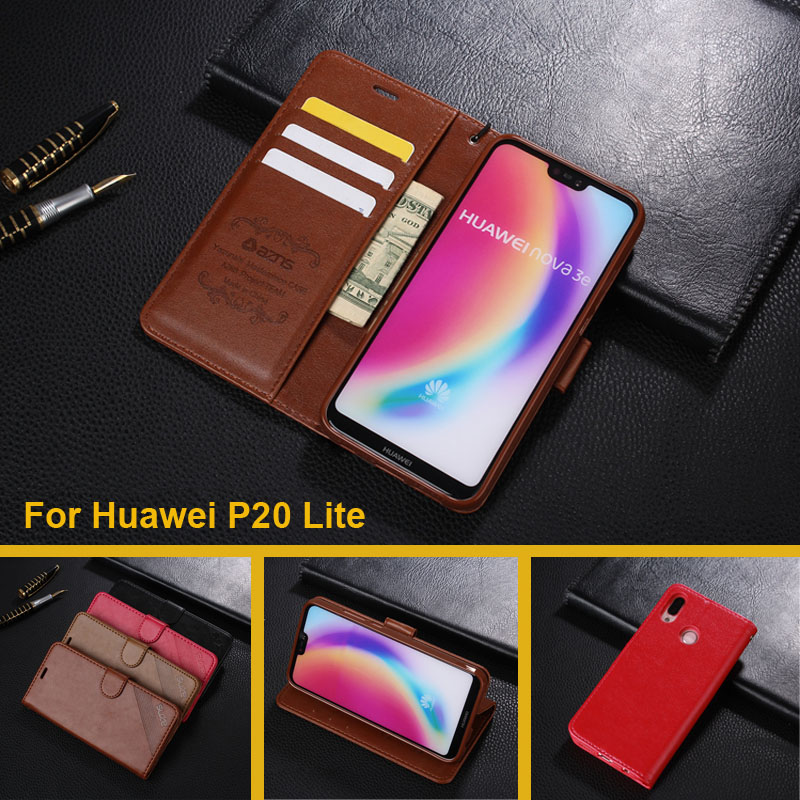 Case For Huawei P20 Lite Luxury Wallet PU Leather Case Stand Flip Card Hold Phone Cover Bags For Huawei P20 Lite / Nova 3E