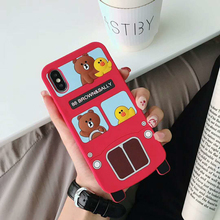 Lovely Cute Cartoon 3D Brown Bear and Sally Phone Case For X XS Max XR 8 7 6 6s Plus Bus Soft Silicone Shockproof Cover