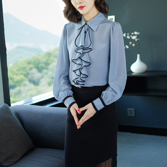 2019 Women Sky Blue Real Silk 100% Shirts Office Lady Fashion Ruffled Collar Blouses Luxury High End Female Tops
