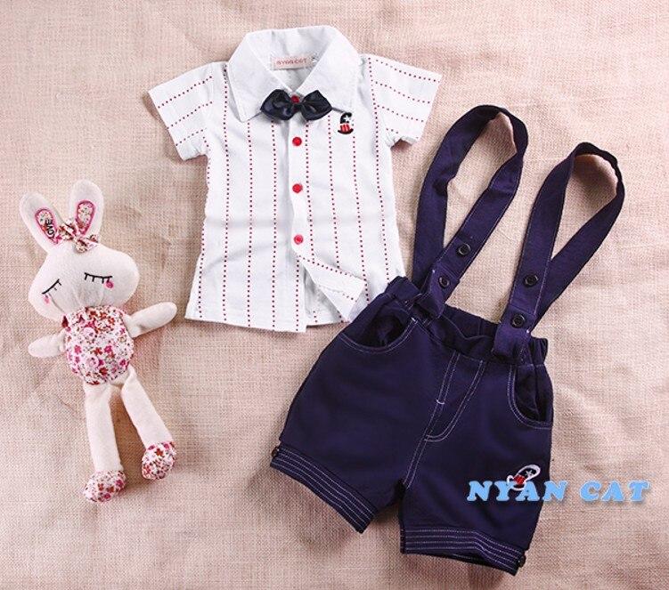 EMS, DHL,, летний комплект из 2 предметов для маленьких мальчиков, рубашка+ подтяжки штаны летняя одежда праздничный комплект одежды - Цвет: Синий