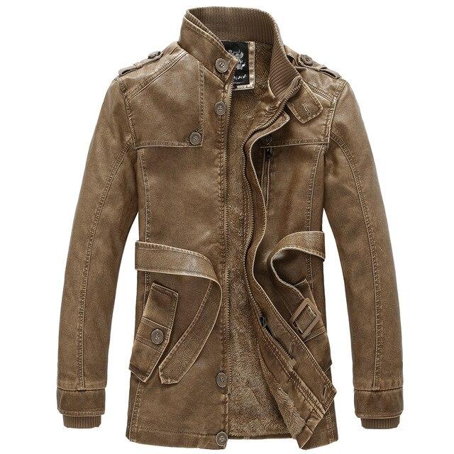 2016 Новый Дизайн PU Кожаная Куртка Мужчины Длинный Кожаный Пальто Проблемные зима Теплая Куртка Флисовая Подкладка Размер M, Чтобы XXXL Коричневый Серый