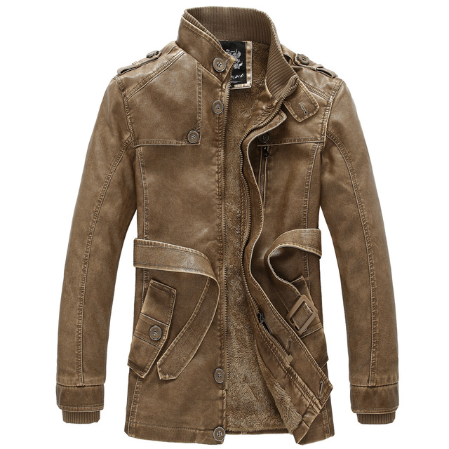 2016 New Design PU Leather Jacket Men Long Leather Coat Distressed Winter Warm Jacket Fleece Lining Size M To XXXL Brown Gray