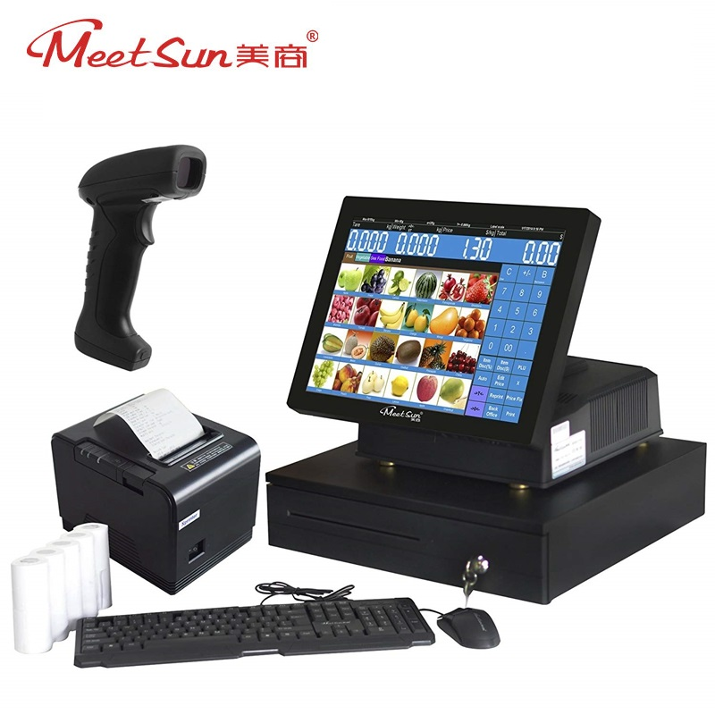 Meetsun MS-808 15 LCD Touch Screen Monitor POS System Cash Register POS Terminal Machine With Printer,Cash Box, Scanner Set1