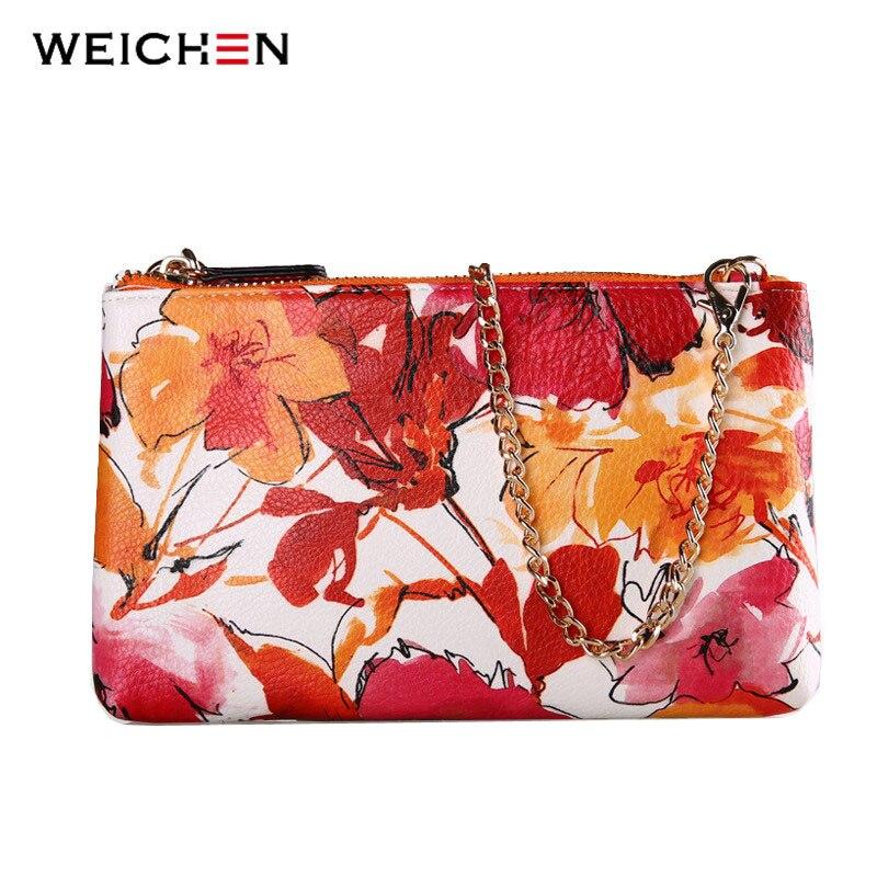 Weichen nueva mujeres flor de impresión de la pu bolso de cuero del mensajero de
