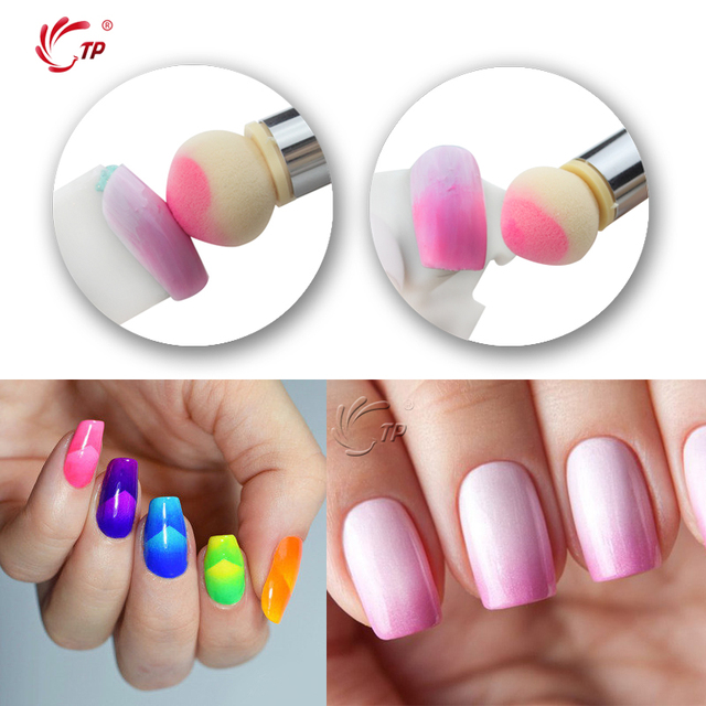 Tp 1set Double Sponge Nail Gradient Acrylic Handle Drawing Brush