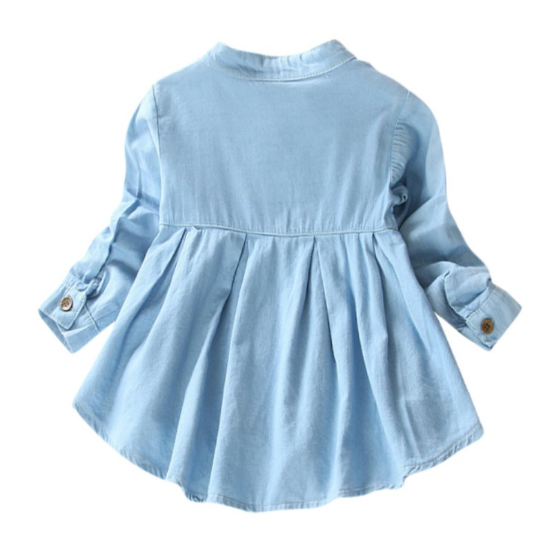031fc79c6cad Solid Jean Children Kids Long Sleeve Denim Girl Blouses Clothing Autumn  Baby Girls Jeans Shirts New