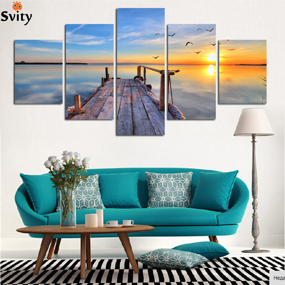 Framed ready to hang 5 Panel Modern seascape Pictures Decor Wall Art Ocean Sunset Painting Canvas Prints F1713 wholesal
