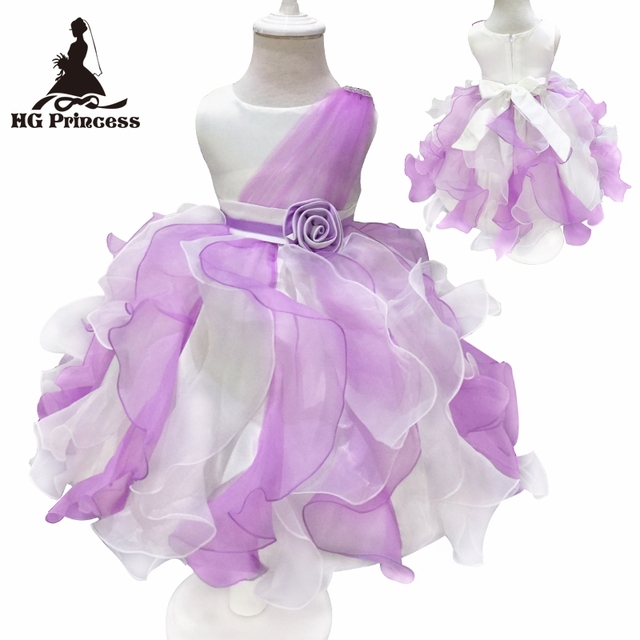 Free Shipping Ruffles White With Purple Flower Girl Dress Mix Color ...