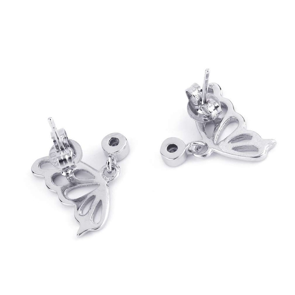 GENBOLI Exquisite Silver Plated Jewelry Butterfly Shape Silver Plated Earrings For Women Fashion Fine Jewelry Hot!
