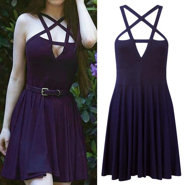 2019 Sexy Summer Women Slim Mini Dress Black Pentagram Women Goth Dress Sexy Fashion Dress 5
