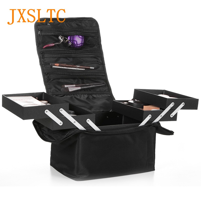 Women's Folding Professional Cosmetic Bag High Quality Cute Cosmetic Cases Travel Storage Box Large Capacity makeup kit Suitcase travel aluminum blue dji mavic pro storage bag case box suitcase for drone battery remote controller accessories
