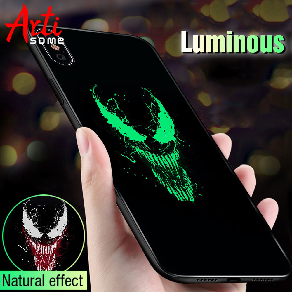 best service b4401 22ea4 US $2.99 40% OFF|Luminous Marvel Venom Case For iPhone 6 6S 7 8 Glass  Luxury Phone Case For Apple iPhone 6 6S 7 8 Plus X XS XS Max Cover -in Flip  ...