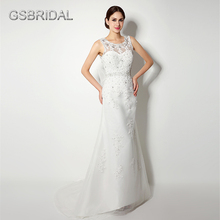 GSBRIDAL Lace Appliques Beading Bow Belt Back Tulle Bridal Wedding Gown