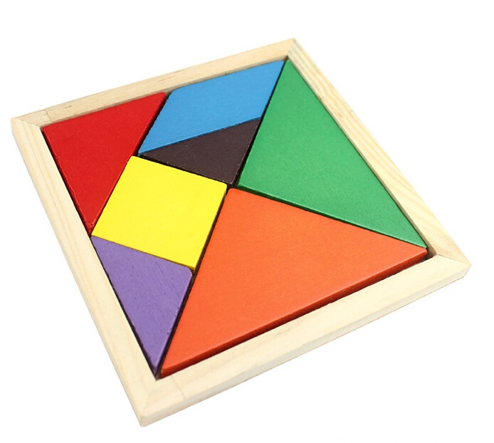 Montessori Wooden Toys for Children Geometry Wooden Jigsaw Puzzle Educational Learning kids toys Wood tangram W103