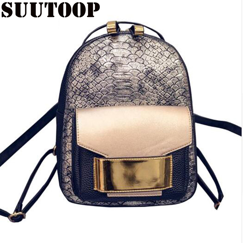 Women Bag For 2019 Snake Skin PU Leather Female Backpack Feminina Mochila Escola Schoolbag Superior Fashion Travel School Bag Pa
