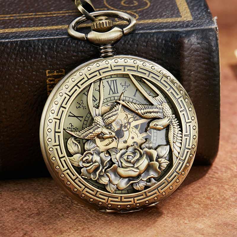 Vintage Retro Dragon Phoenix Flower Exquisite Sculpture Mechanical Pocket Watch Chains Luckly Lover Wedding Gifts Skeleton Watch
