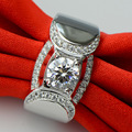 luxury quality trendy 1 CT Carat anniversary wedding engagement  Sterling silver dia mond ring Party Man gift