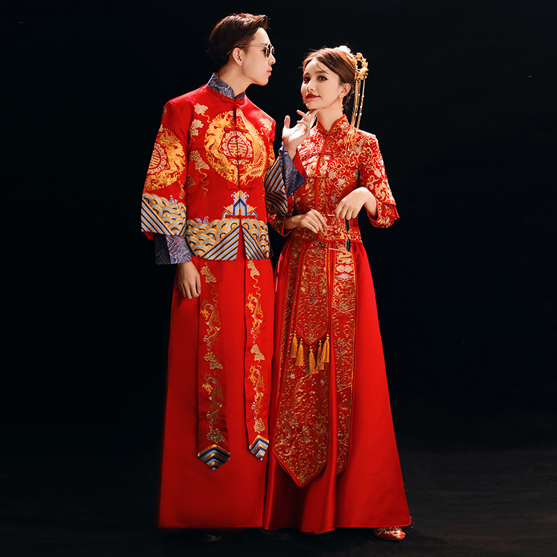 Vintage Men&women Marriage Cheongsam Suit Traditional Embroidery Dragon Qipao Asian Bride+bridegroom Wedding Party Dress