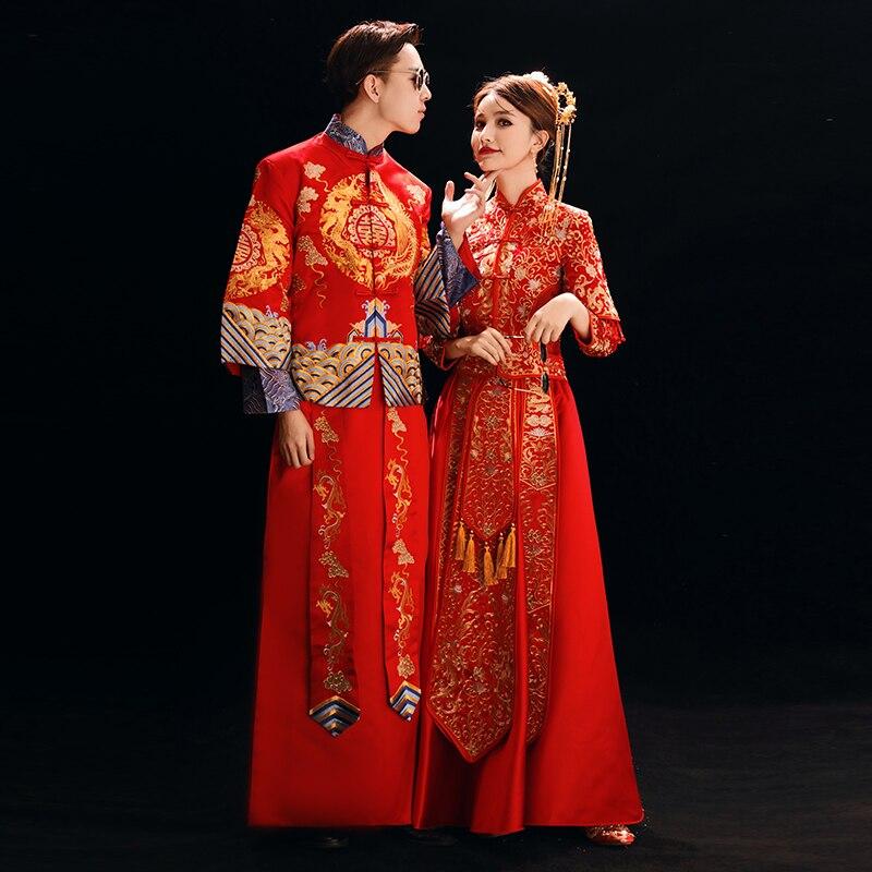 Vintage hommes et femmes mariage Cheongsam costume traditionnel broderie Dragon Qipao asiatique mariée + marié robe de mariée
