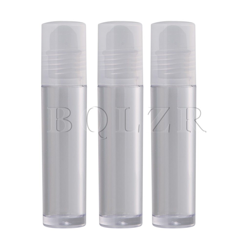 20x BQLZR 8.5x1.7cm Transparent Plastic 10ml Empty Lip Gloss Balm Roll On Bottle Tube Container With Frosted Glass Roller Ball