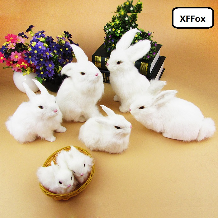 a family of real life white rabbit models plastic&furs simulation rabbit dolls gift  xf2026a family of real life white rabbit models plastic&furs simulation rabbit dolls gift  xf2026