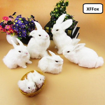 a family of real life white rabbit models plastic&furs simulation rabbit dolls gift  xf2026