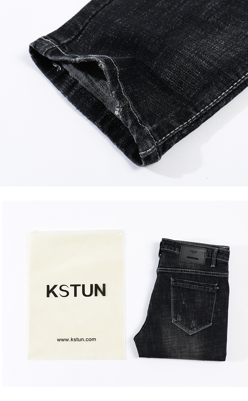 KSTUN Men Jeans 2018 Famous Brand Stretch Slim Autumn Winter Ripped Runway Broeken Mannen Motocycle