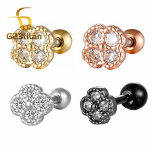 G23titan White Zircon Stainless Steel Ear Studs Helix Piercing Cartilage Earring Conch Rook Tragus Stud Jewelry
