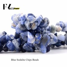 "Natural Blue Sodalite Chip Beads for Needlework 5mm-8mm Irregular Gravel Stone Beads for Jewelry Making Bracelet Accessories 15""(China)"